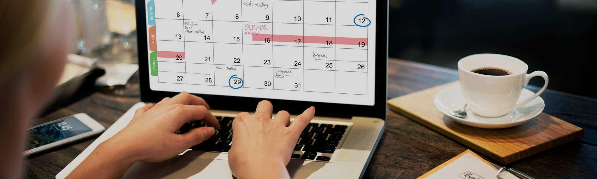 Calendar of events on a laptop